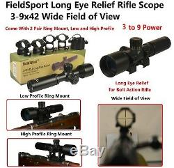 Mosin Nagant 3-9x42 Long Eye Relief Scope With 2 Pair Ring Mount Low and High