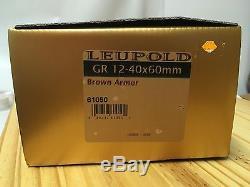 NIB New Leupold GR 12-40x60mm Brown Armor spotting scope $1429 MRSP