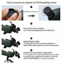 SVBONY SV28 Spotting Scopes 25-75x70 45° Angled telescopes+Tripod+Phone Adapter