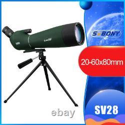 Spotting Scope SV28 Telescope SVBONY 20-60x80 BAK4 Prism Refractor Angled US