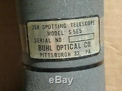 WWII Vintage Buhl 25x Optical Spotting Scope Tripod & Original Case